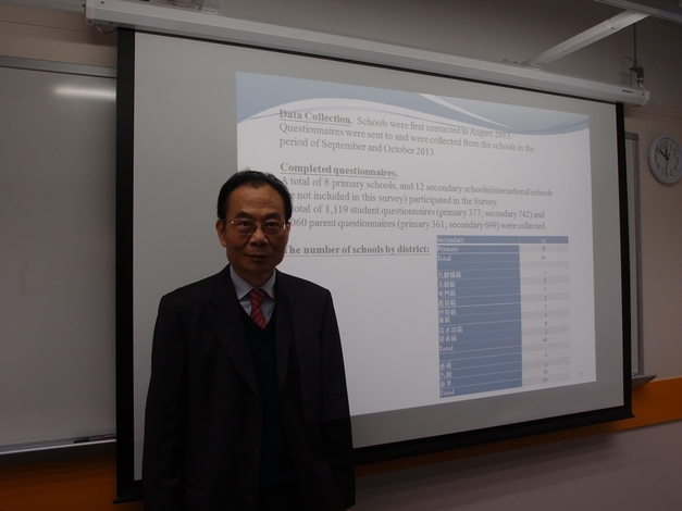 Prof Ho Lok-sang presents findings of the Children Happiness Index Survey 2013.