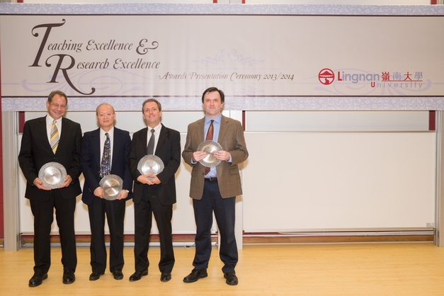 (From left) Mr Marc LeBane, Prof Charles Kwong, Prof Paul Whitla and Prof Mark Hampton receive the Teaching Excellence Awards.