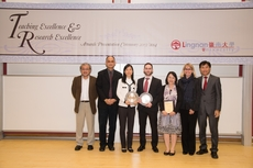 Prof Liang Liping (3rd left) and Prof Andrea Sauchelli (4th left) receive the Research Excellence Awards and pose with members of the Presidential Group.