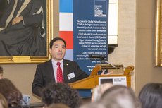 Prof Joshua Mok Ka-ho delivered his keynote speech at the seminar that marked the launch of CGHE.