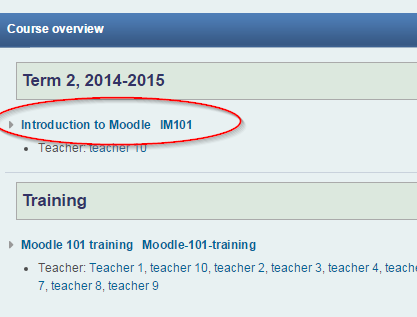 Screenshot of Moodle course overview