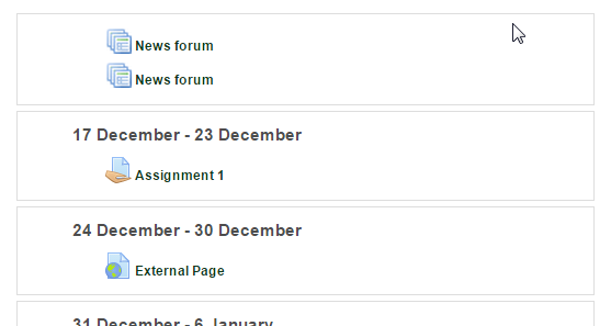Screenshot of moodle course with material imported