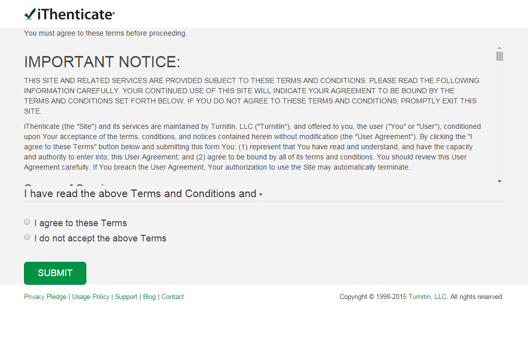 Screenshot of iThenticate agreement acceptance