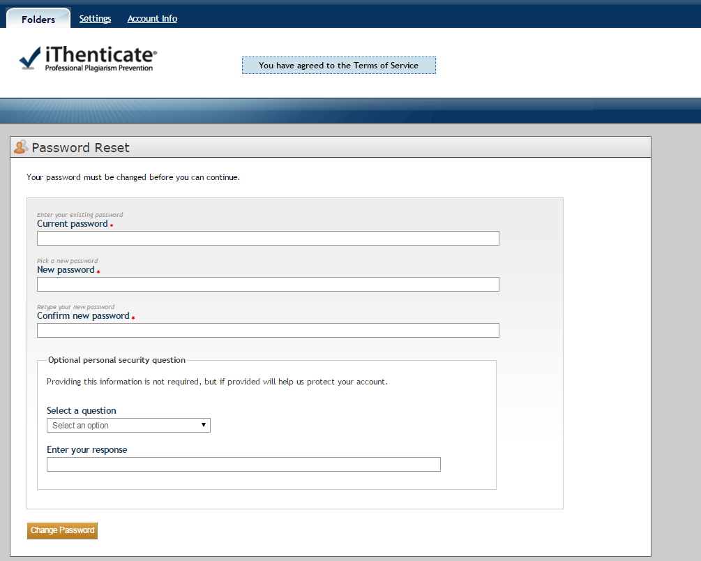 Screenshot of iThenticate setup screen