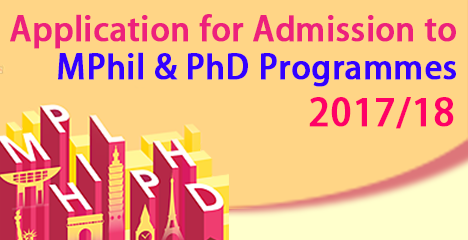 Application for Admission to MPhil & PhD Programmes 2017/18