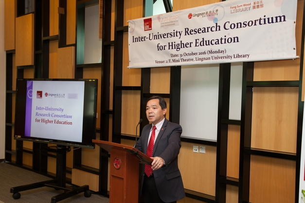 Prof Joshua Mok Ka-ho introduced the Inter-university Research Consortium for Higher Education.
