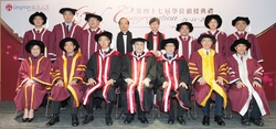 Honorary Doctorates Mr Warren Chan (3rd left, front row), Dr Anthony Francis Neoh (middle, front row) and Prof Yang Fujia (3rd right, front row) with representatives of Lingnan University including Mr Rex Auyeung Pak-kuen, Chairman of the University Counc