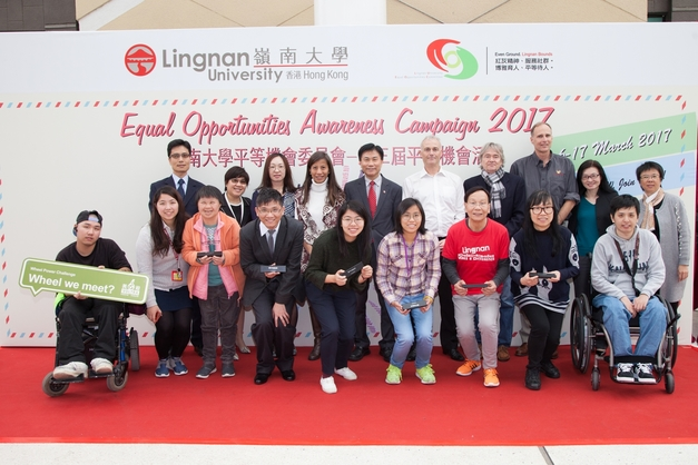 President Prof Leonard Cheng (5th left, back row), Prof Lisa Leung Yuk-ming, Chairperson of the Lingnan University Equal Opportunities Committee (4th left, back row), and other guests participated in the kick-off ceremony of Lingnan University's 3rd Equal