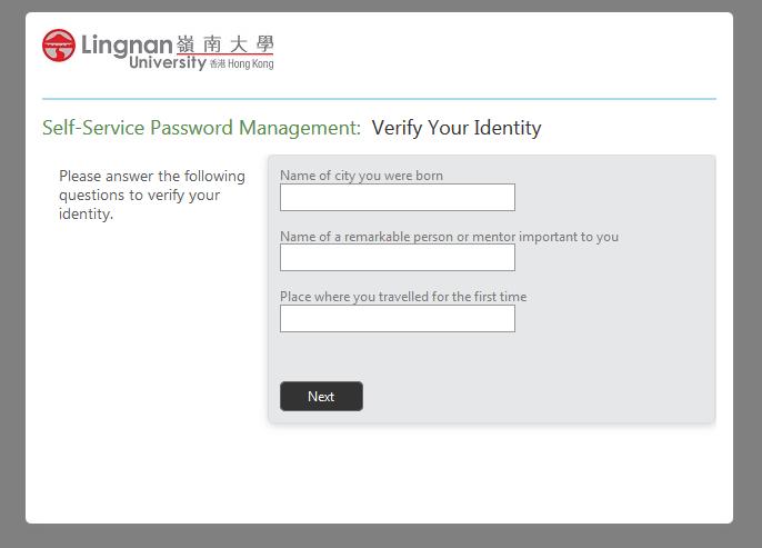 forgot password - IAM - Services - ITSC - Lingnan University