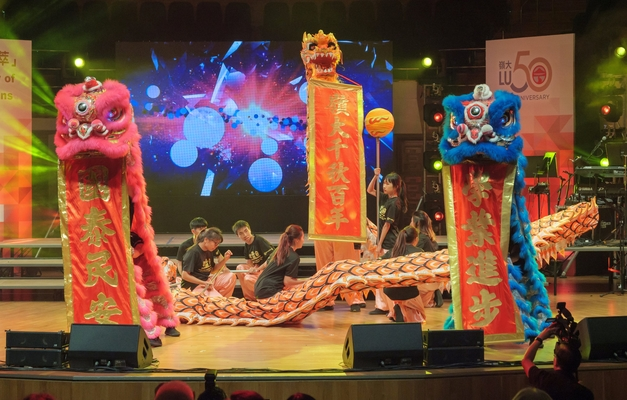 Dragon and lion dance performance