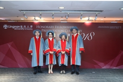 (From left) Honorary Fellows Mr Larry KWOK Lam-Kwong, Ms Candy CHEA Shuk-Mui, Ms Helena LO Yin-Ying (LAW Lan), Dr the Hon LAM Ching-Choi.