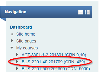 Screenshot of Moodle course Navigation