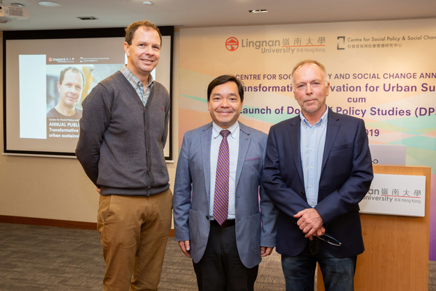 Prof Adrian SMITH, Professor of Technology and Society, Science Policy Research Unit, University of Sussex (left), Prof Joshua Mok (Centre) and Prof Ray FORREST, Director of Centre for Social Policy and Social Change, Lingnan University (right) take a group photo
