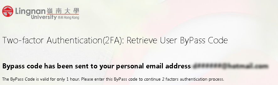 Obtain ByPass Code by email