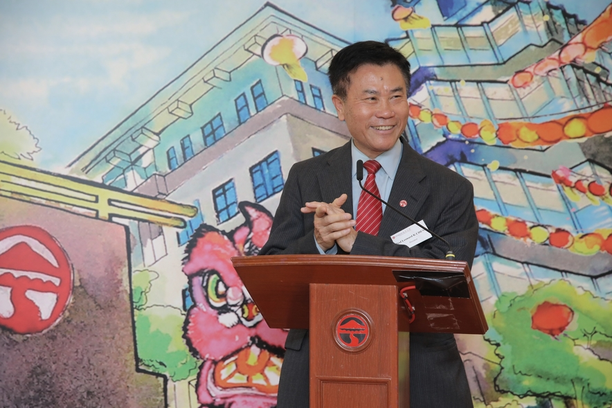 President Leonard K Cheng introduced Lingnan University's development initiatives in his address.