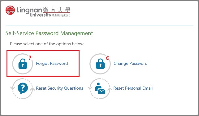 forgot password - IAM - Services - ITSC - Lingnan University