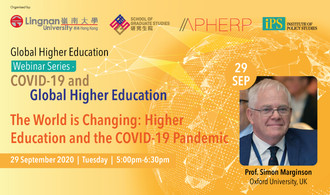 Simon Marginson, Professor of Higher Education, Oxford University, will discuss how higher education is changing due to the pandemic in the first webinar of the COVID-19 and Higher Education series. Watch via Zoom on 29 Sep