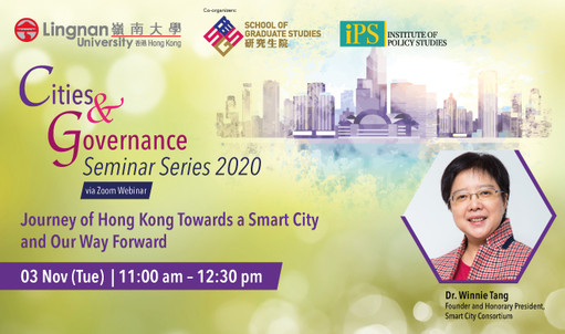 Cities must become smarter to overcome the challenges posed by the pandemic. Hear more insights from Dr Winnie Tang, founder of the Smart City Consortium, at the Cities & Governance Seminar Series on 3 Nov 2020