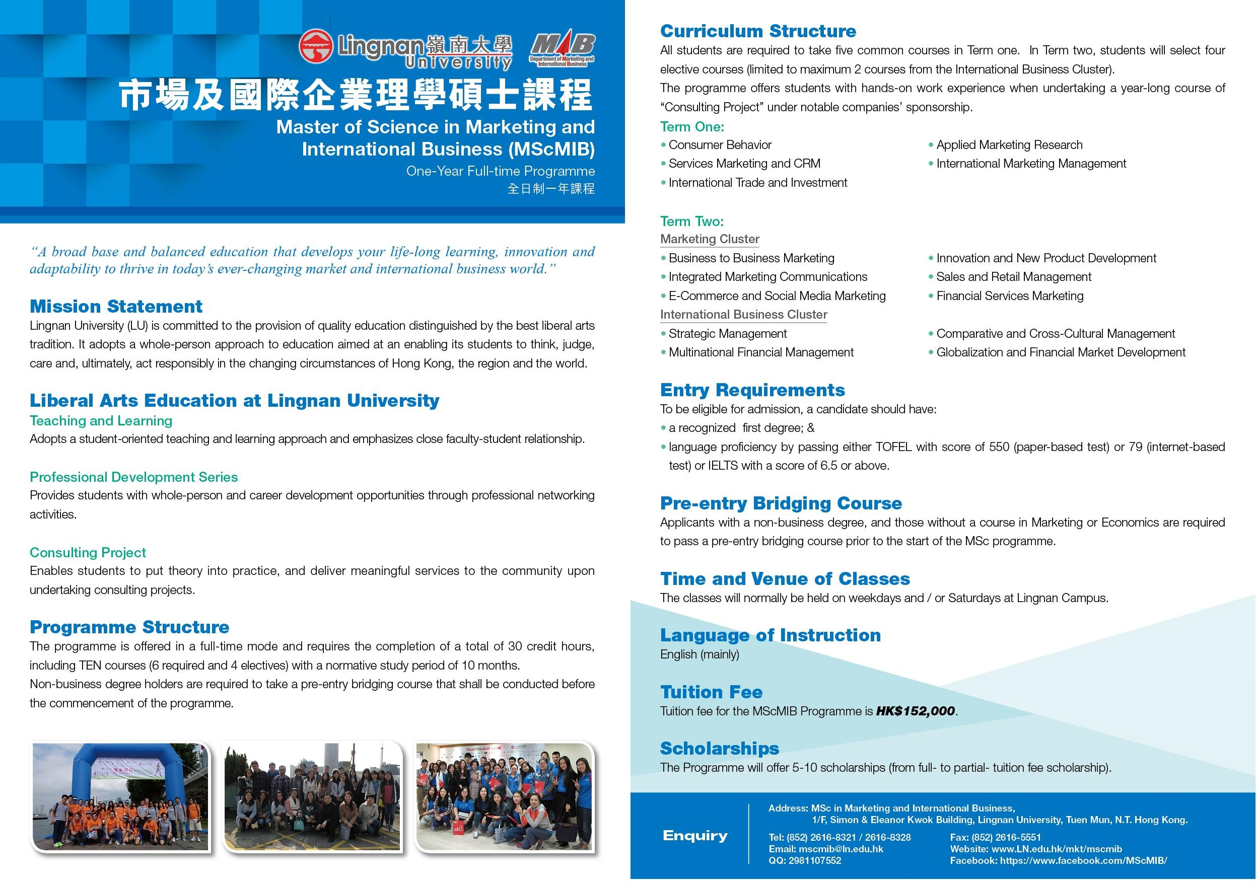 department of marketing and international business lingnan master of science in marketing and international business mscmib